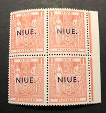 Scarce Niue 1942 U/M £1 Block of Four