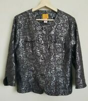 Chicos Jacket Collarless Brown Silver Metallic Button Front 3/4 Sleeve Size 12