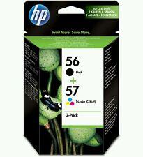 Genuine HP 56 57 Black Tri Colour Ink Cartridges Twin Pack C6656A C6657A 2150 BN