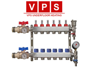 6-port Underfloor Heating Manifold with Eurocones, Valves & Gauges