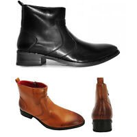 Giovanni Mens Smart Casual Ankle Boots Side Zip Brown Black Size 7 8 9 10 11 12