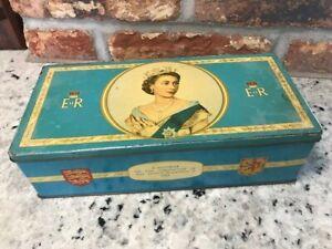 Vintage collectable Meredith & Drew biscuit/cracker tin 1953 coronation VGC