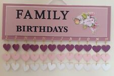 FAMILY BIRTHDAY CALENDAR WALL HANGING HANDMADE