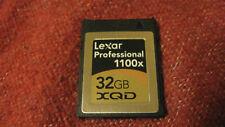 Used Lexar 1100x 32GB XQD memory card