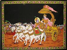Poster Wall Hanging Lord Krishna Arjuna God Painted  Sequin Tapestry Decor Arts