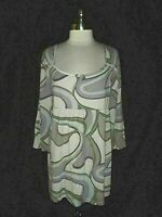 NEW CATO Plus Size 3X 22 24 Shirt Top Brown Grey Blue Silver Sparkles 3/4 Sleeve