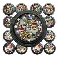Christmas Women Nail Art 3D DIY Santa Rhinestones Gems Mix Nail Xmas Decor Gift