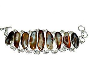 Agate Druzy Slice Gemstone Handmade Fashion Jewelry Silver Bracelet