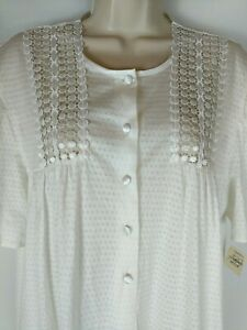 HANRO OF SWITZERLAND Women's VTG White Nightgown Pullover Partial Button NWT MED