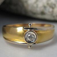 Ring mit ca. 0,07ct Brillant in 585/14K Weiß-/Gelbgold