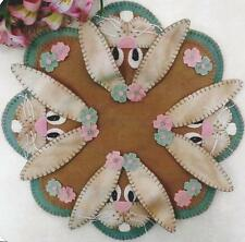 Bunnies in Spring penny rug candle mat pattern by Cath's Pennies Designs