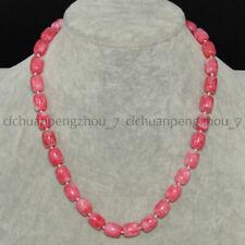 8x12mm Pink Natural Snowflake Jade Cylinder Barrel Gems Beads Necklace 16-50''
