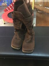 Fashion womens Knee High Calf Buckle Adjustable Boots Size 8 1/2M