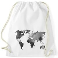 Turnbeutel Weltkarte Wasserfarben Watercolor World Map Gymsac Autiga®
