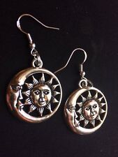 Sun/Moon Charm Earrings Handcrafted Dangle