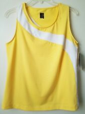 Women's NWT M Slazenger Tennis Spliced Tank Yellow/White W/ Wicking SRP $40.00