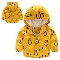UK Kids Baby Boy Hooded Windproof Rain Coat Waterproof Jacket Outerwear Clothes