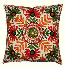 """Ethnic 16"""" Cushion Pillow Cover Handmade Kutchy Embroidered Throw INDIAN Decor"""