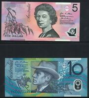 Australia 2015 Last Same Signatures $5+$10 Pair - Stevens Fraser Polymers issued