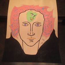 """1987 Artist Signed Miklos Emhecht Large Painting """"What's on his Mind"""""""