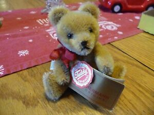"""Hermann Teddy Original 5"""" Mohair Tan Teddy Bear Red Tag Made West Germany SIGNED"""
