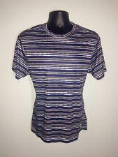 Mens Under Armour Heat Gear Blue Gray Striped Short Sleeve Athletic T-Shirt L