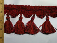 New Conso Burgundy Fringe Trim Tassel, Upholstery, Drapery, 18 Yards Bolt