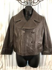 Stunning!! Wilson Women Chocolate Brown Leather Butter Soft Jacket Lined