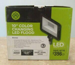 """Intertek 10"""" 30 Watt Outdoor Color Changing LED Flood Light - Bronze - A374"""