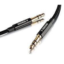 AUX Kabel 2m, Klinkenstecker gold, Audiokabel für Handy Stereoanlage Auto SEBSON