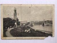 AK Bremerhaven Hafen Leuchtturm alte Karte Foto gelaufen