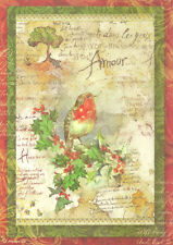 Rice Paper for Decoupage Scrapbooking Christmas Bird Letter A4 DFSA4037