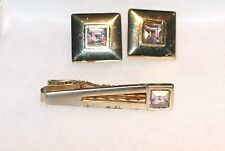 1960's Mens Square Purple Stone Cufflinks & Tie Bar Set in Goldtone