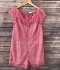 NEW Women's Plus Size Renn Cap Sleeve Lace Romper Pink Size 3X New With Tag