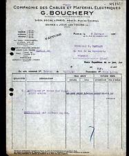 """PARIS (X°) CABLES & MATERIEL ELECTRIQUES """"G. BOUCHERY"""" 1930"""