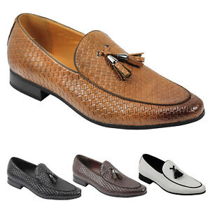 Mens Vintage Woven Leather Lined Tassel Moccasin Loafer Retro Smart Casual Shoes