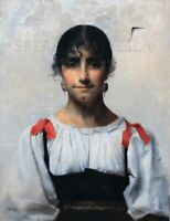 Large 19th Century Portrait Of An Italian Girl Bella PAUL ALEXANDRE ALFRED LEROY