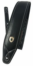 Genuine Leather Soft Padded SCRIPT Supreme Electric, Acoustic, Bass Guitar Strap