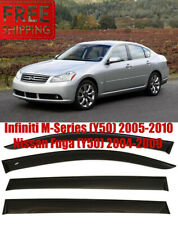 For Infiniti M 05-10 / Nissan Fuga Window Smoke Visor Rain Sun Guard Deflectors