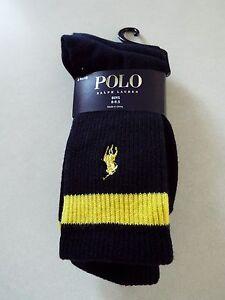 RALPH LAUREN 3 pair Boys Black Crew Socks 8-9.5 Shoe 13-3 New