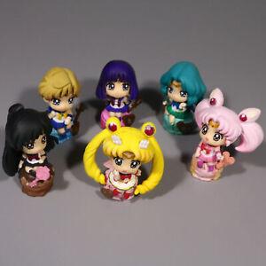 "Sailor Moon Ice Cream Party Set Of 6 Petit Chara Land 2"" Anime Figure Doll"