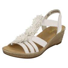 Sandali e scarpe bianchi zeppi marca Rieker per il mare da donna