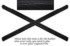 BLACK STITCH 2X DOOR SILL TRIM LEATHER SKIN COVERS FITS FORD CAPRI MK2 MK3