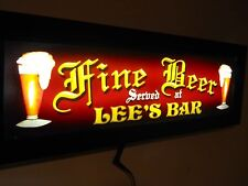 Led  LIGHTED BAR SIGN FINE BEER SERVED HERE PERSONALIZED FREE w REMOTE CTRL