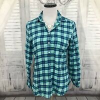 J. Crew Woman XS Green Pink Top Plaid Flannel Half Button Shirt Long Sleeve B6
