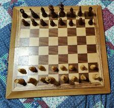 Wooden Chess Set in Folding Wooden Box Board 14inX 14in