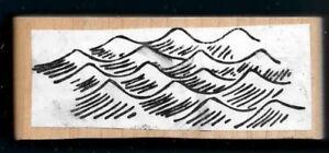 MOUNTAIN RANGE Majestic Bluff Landscape Hill Summit Peak WAVE CAPS Sketch wood