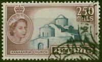 Cyprus 1955 250m Dp Grey-Blue & Brown SG185 Fine Used
