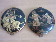 Antique Chinese wooded painted medallions, SIGNED