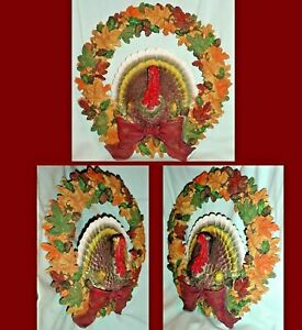 "TURKEY WREATH w OAK LEAVES PINECONES ACORNS THANKSGIVING FALL DECOR 11"" RESIN"